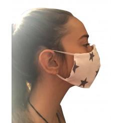 Μάσκα Υφασμάτινη100% ΒΑΜΒΑΚΕΡΗ  ΠΑΙΔΙΚΗ FACE  .Άσπρη με γκρι αστεράκια