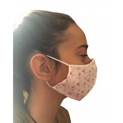 Μάσκα Υφασμάτινη100% ΒΑΜΒΑΚΕΡΗ  ΠΑΙΔΙΚΗ FACE   .Άσπρη με ροζ αστεράκια